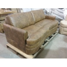 """""""Take-Out"""" Brown Leather Sofa"""